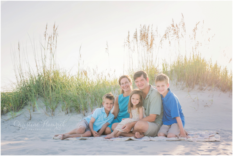 ChristineHamrickPhotography - Family set against the dunes on the beach - South Carolina beach photographer